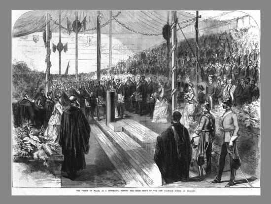 'The Prince of Wales Setting the Chief Stone at the New Grammar School at Reading.', 1870-Unknown-Giclee Print