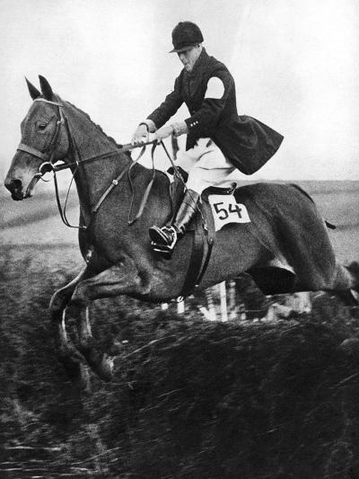 The Prince of Wales Taking a Fence in the Bridge of Guards Challenge Cup Race, C1930S--Giclee Print