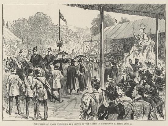 The Prince of Wales Unveiling the Statue of the Queen in Kensington Gardens, 28 June-Melton Prior-Giclee Print