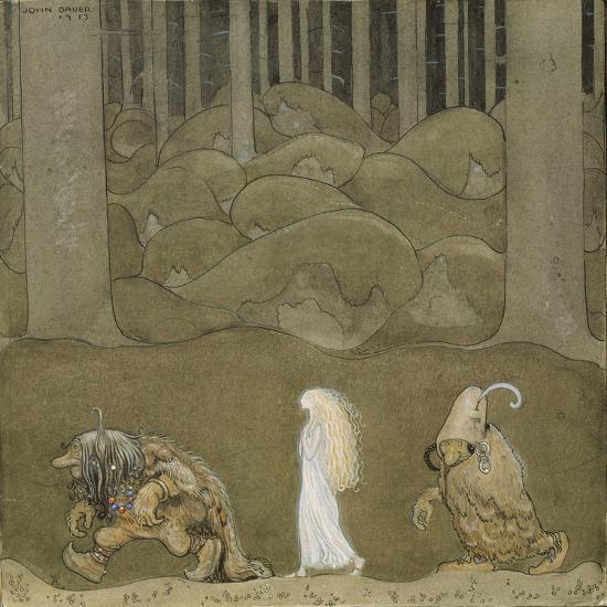 The Princess and the Trolls-John Bauer-Giclee Print
