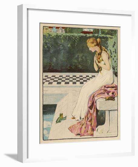 The Princess Discovers a Frog at Her Feet: Curiously He Too is Wearing a Crown-Willy Planck-Framed Giclee Print