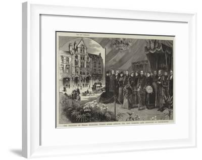 The Princess of Wales Receiving Purses after Opening the New Working Lad's Institute at Whitechapel--Framed Giclee Print
