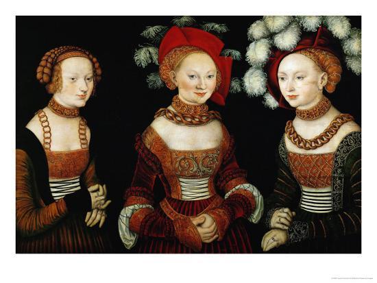 The Princesses Sibylla, Emilia, and Sidonia of Saxony, 1535-Lucas Cranach the Elder-Giclee Print