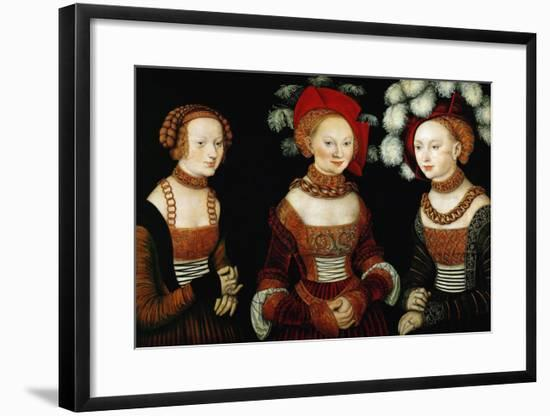 The Princesses Sibylla, Emilia, and Sidonia of Saxony, 1535-Lucas Cranach the Elder-Framed Giclee Print