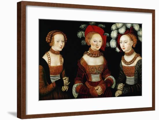 The Princesses Sibylla, Emilia, and Sidonia of Saxony, 1535-Lucas Cranach the Elder-Framed Giclee Print