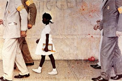 The Problem We All Live With (or Walking to School--Schoolgirl with U.S. Marshals)-Norman Rockwell-Giclee Print