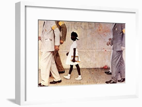 The Problem We All Live With (or Walking to School--Schoolgirl with U.S. Marshals)-Norman Rockwell-Framed Giclee Print