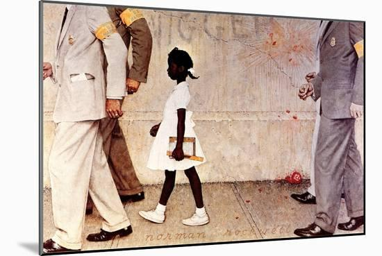 The Problem We All Live With (or Walking to School--Schoolgirl with U.S. Marshals)-Norman Rockwell-Mounted Giclee Print