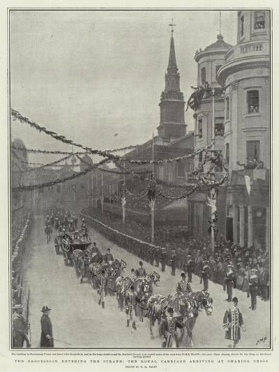 The Procession Entering the Strand, the Royal Carriage Arriving at Charing Cross-Henry Marriott Paget-Giclee Print