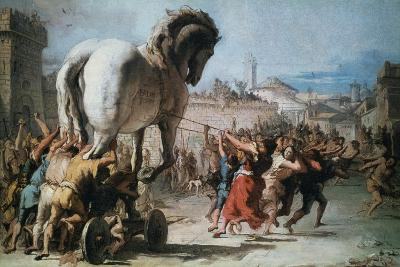 The Procession of the Trojan Horse into Troy, C1760-Giovanni Battista Tiepolo-Giclee Print