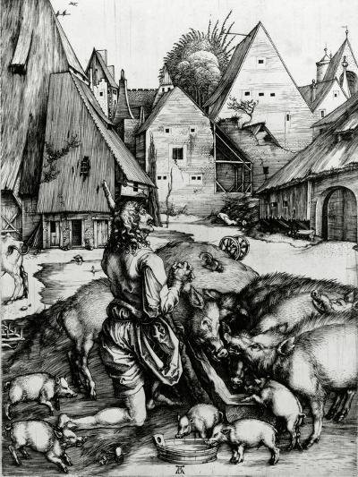 The Prodigal Son, 1496 (Engraving)-Albrecht D?rer-Giclee Print