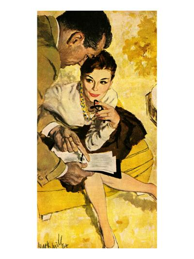 """The Progressive Approach  - Saturday Evening Post """"Leading Ladies"""", December 16, 1960 pg.30-Mark Miller-Giclee Print"""