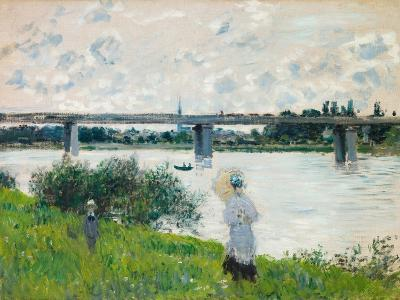 The Promenade with the Railroad Bridge, Argenteuil, 1874-Claude Monet-Giclee Print
