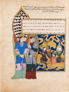 The Prophet Muhammad before the Angel with Seventy Heads. from the Book Nahj Al-Faradis