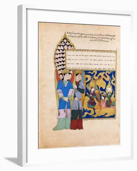The Prophet Muhammad before the Angel with Seventy Heads. from the Book Nahj Al-Faradis--Framed Giclee Print