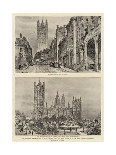 The Proposed Embankment at Westminster, the Bill for Which Is to Be Laid before Parliament-Henry William Brewer-Giclee Print