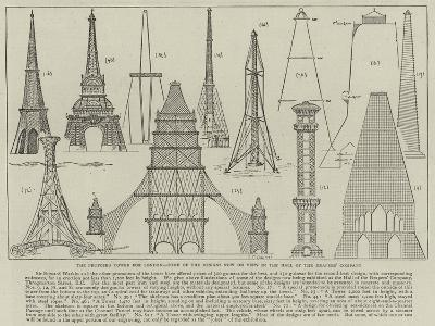 The Proposed Tower for London, Some of the Designs Now on View in the Hall of the Drapers' Company--Giclee Print