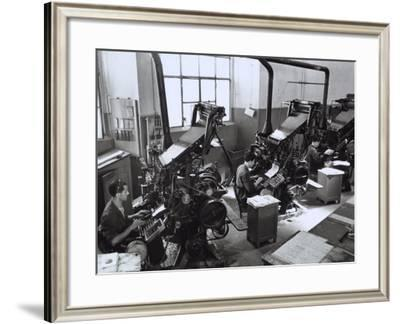 The Publisher Cappelli, Workers Operating Typographic Machinery-A. Villani-Framed Photographic Print