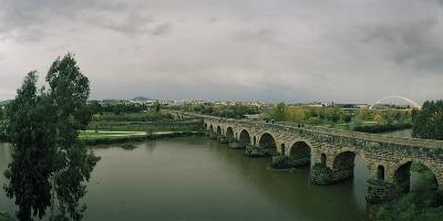 The Puente Roman, an Ancient Roman Bridge over the Guadiana River, and Lusitania Bridge Beyond-Macduff Everton-Photographic Print