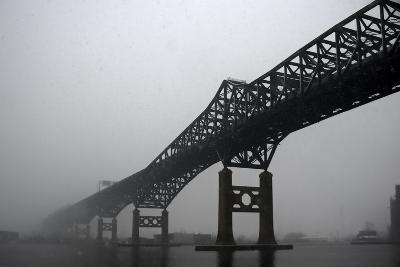 The Pulaski Skyway in the Snow and Fog-Photography by Steve Kelley aka mudpig-Photographic Print