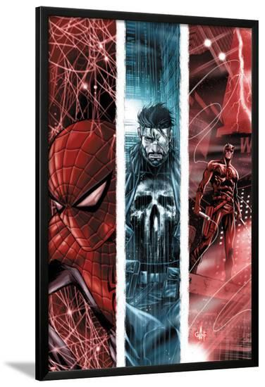 The Punisher No.10 Cover: Spider-Man, Punsiher, and Daredevil-Marco Checchetto-Lamina Framed Poster