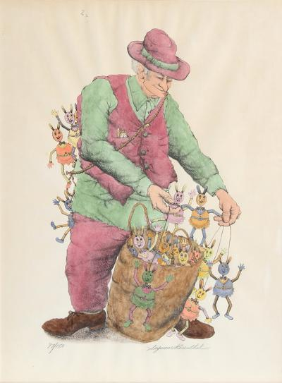 The Puppet Vendor (color)-Seymour Rosenthal-Limited Edition
