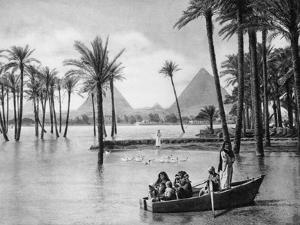 The Pyramids of Giza During a Flood, Cairo, Egypt, C1920S