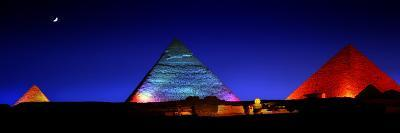 The Pyramids of Giza Lit Up at Night-Chris Hill-Photographic Print