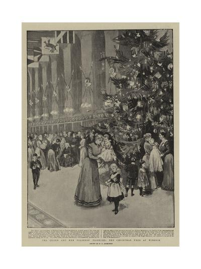 The Queen and Her Soldiers' Families, the Christmas Tree at Windsor--Giclee Print