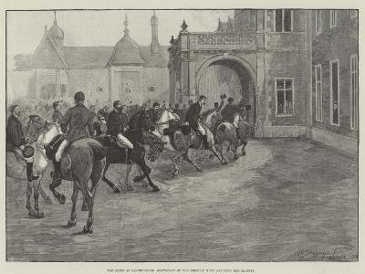 The Queen at Sandringham, Gentlemen of the Norfolk Hunt Saluting Her Majesty-Henry Charles Seppings Wright-Giclee Print