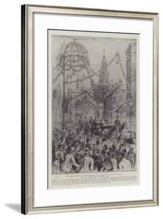 The Queen at Sheffield, the Royal Carriage Passing from the Station to the New Town Hall-Melton Prior-Framed Giclee Print