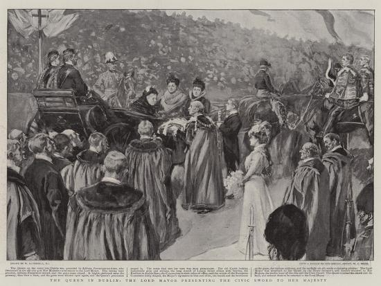 The Queen in Dublin, the Lord Mayor Presenting the Civic Sword to Her Majesty-William Hatherell-Giclee Print
