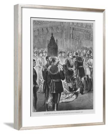 The Queen Kissing Her Children after the Jubilee Thanksgiving Service in Westminster Abbey--Framed Giclee Print