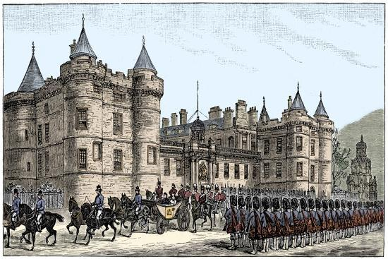 The queen leaving Holyrood Palace, Edinburgh, 1886, (1900)-Unknown-Giclee Print