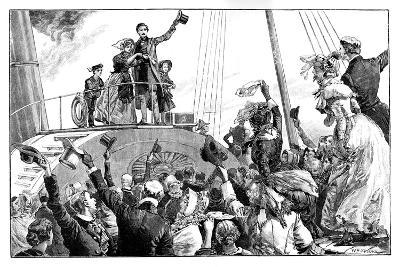 The Queen Leaving Kingstown, Royal Visit to Ireland, C1849-William Heysham Overend-Giclee Print