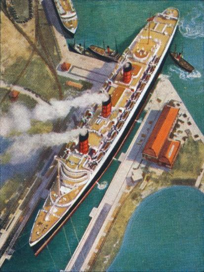 The 'Queen Mary' at Southampton, 1938-Unknown-Giclee Print