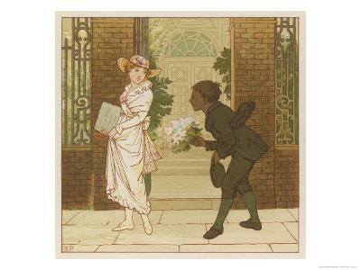 The Queen of the May is Presented with a Bouquet of Flowers by a Chimney Sweep-Robert Dudley-Giclee Print