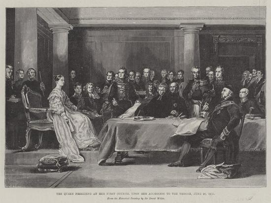 The Queen Presiding at Her First Council Upon Her Accession to the Throne, 20 June 1887-Sir David Wilkie-Giclee Print