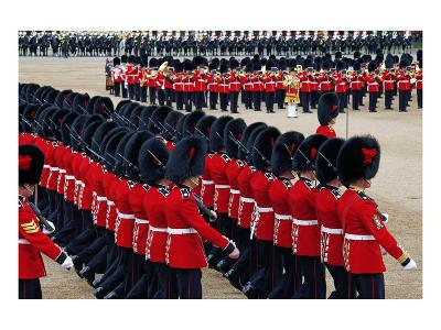 The Queen's Annual Birthday Parade Trooping the Colour, Horse Guards Parade at Whitehall, London--Art Print
