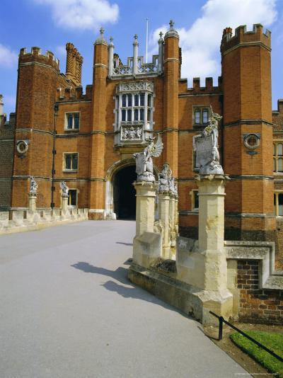 The Queen's Beasts on the Bridge Leading to Hampton Court Palace, Hampton Court, London, England-Walter Rawlings-Photographic Print