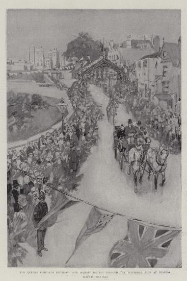 The Queen's Eightieth Birthday, Her Majesty Driving Through the Triumphal Arch at Windsor-Frank Craig-Giclee Print
