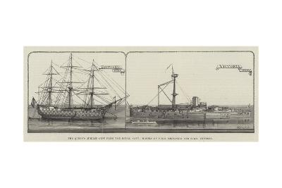 The Queen's Jubilee Gift from the Royal Navy, Models of HMS Britannia and HMS Victoria--Giclee Print
