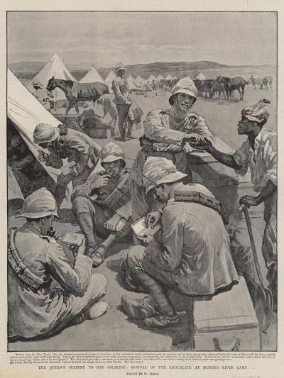 The Queen's Present to Her Soldiers, Arrival of the Chocolate at Modder River Camp-William Small-Giclee Print