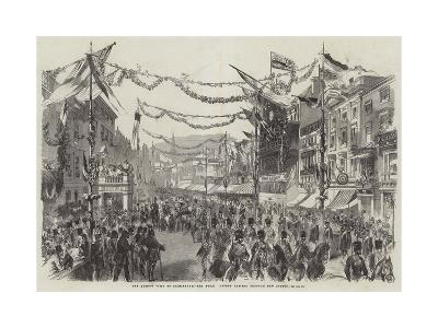 The Queen's Visit to Birmingham, the Royal Cortege Passing Through New Street--Giclee Print