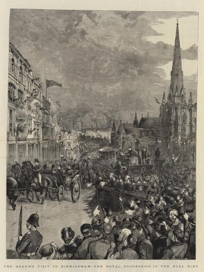 The Queen's Visit to Birmingham, the Royal Procession in the Bull Ring-Henry William Brewer-Giclee Print