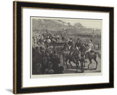 The Queen's Visit to North Wales, Town Clerk Reading the Address of the Corporation of Wrexham--Framed Giclee Print