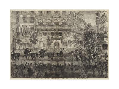 The Queen's Visit to Paris, Procession on the Boulevards Des Italiens--Giclee Print