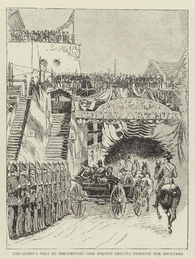 The Queen's Visit to Portsmouth, Her Majesty Driving Through the Dockyard--Giclee Print