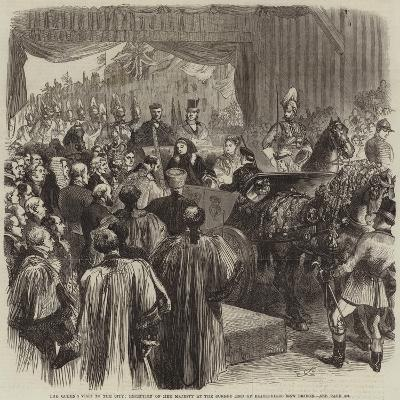 The Queen's Visit to the City, Reception of Her Majesty at the Surrey End of Blackfriars New Bridge-Sir John Gilbert-Giclee Print
