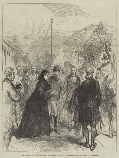 The Queen's Visit to the Prince of Wales, Arrival at Wolferton Station, Near Sandringham-Charles Robinson-Giclee Print